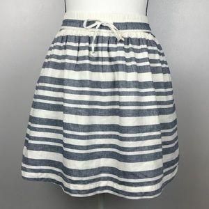 Gap Striped Drawstring Easy Skirt Linen Blend